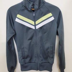 Nike Grey and Green Zip Up Jacket